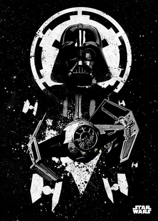 Affiche murale de Dark Vador en noir et blanc
