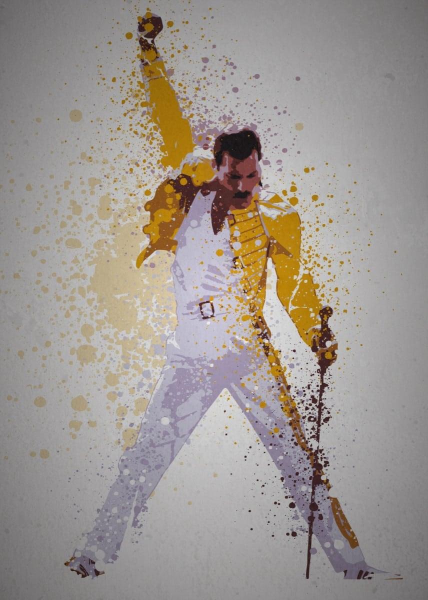 Poster métal de Freddie Mercury du groupe Queen