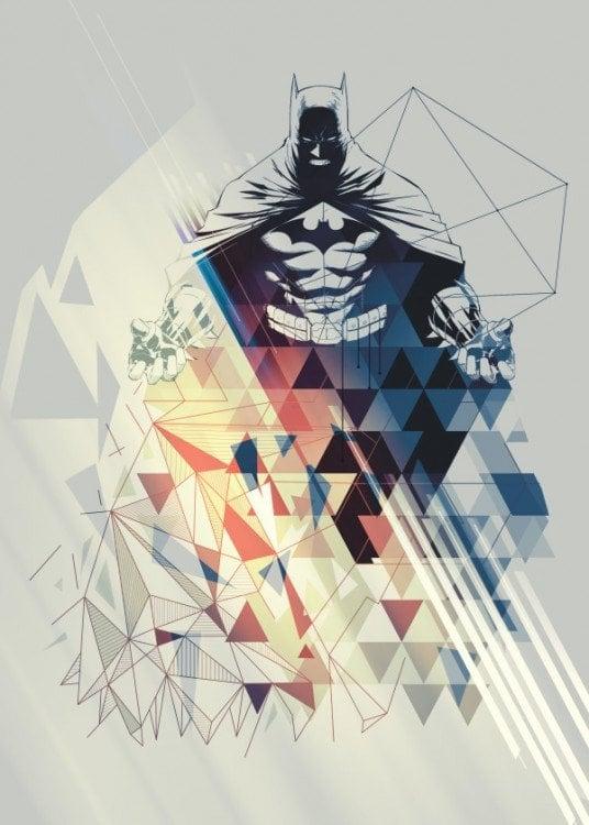 Poster métal mural de Batman avec des formes géométriques