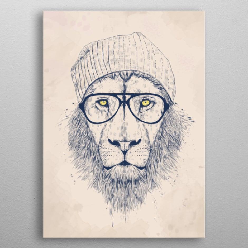 Poster mural métal de notre lion cool de l'artiste balazs solti