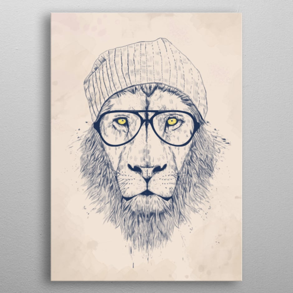 Cool lion metal wall poster for a design touch into your home decoration