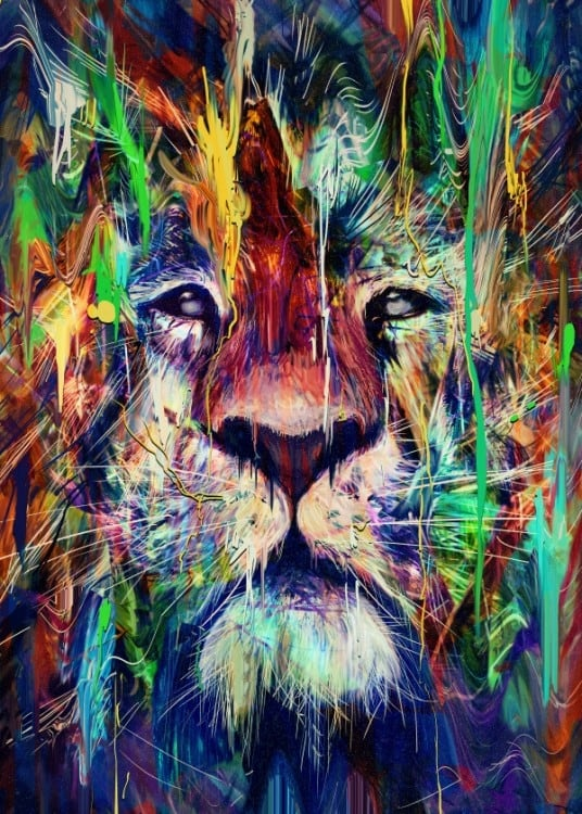 Pop art lion metal wall poster for a nature interior decoration
