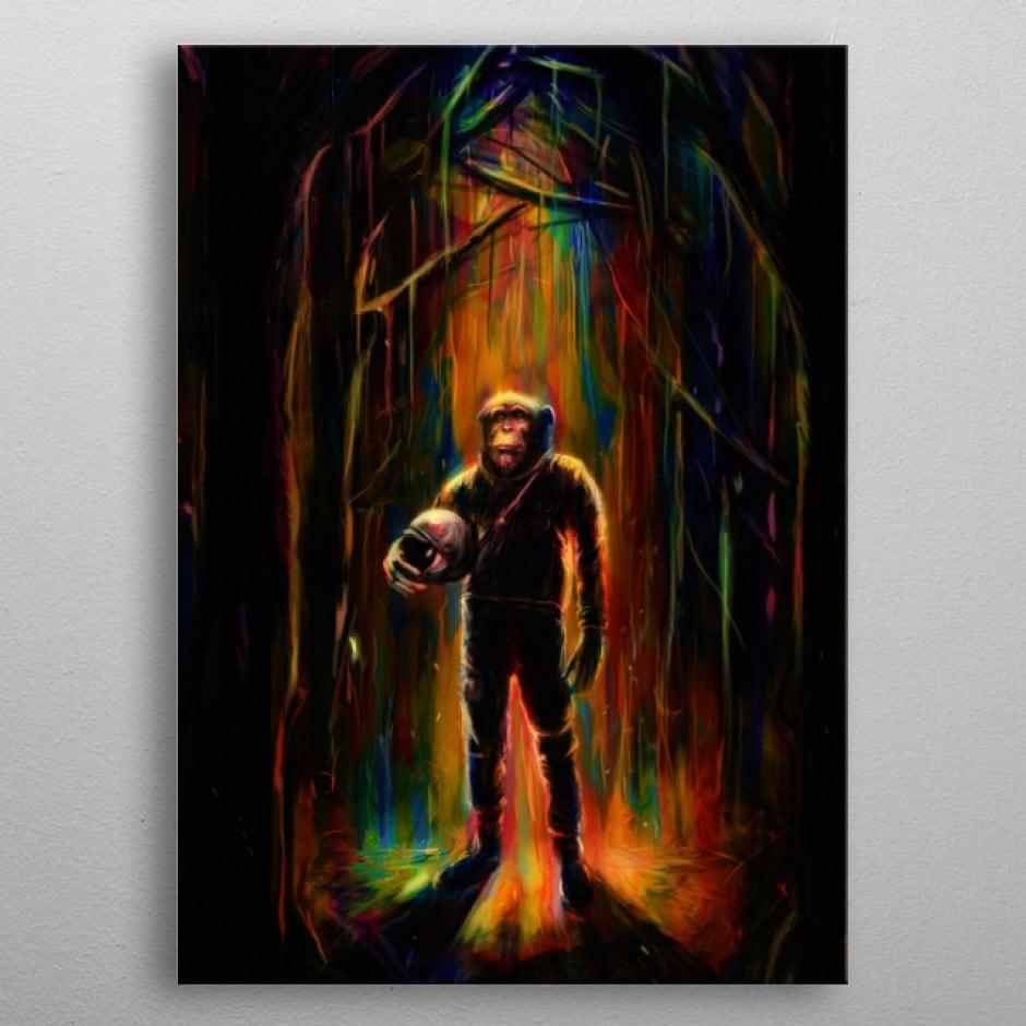 Poster mural en métal de notre singe commande en version pop art