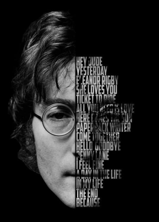 Poster mural en métal du chanteur John Lennon pour votre déco intérieure