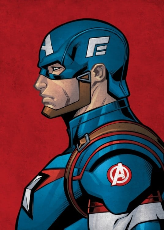 Poster métal Captain America de profil