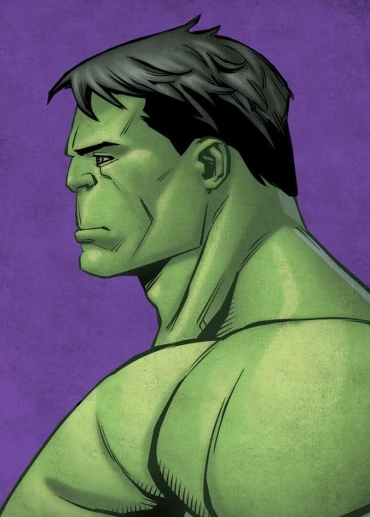 Poster Mural de Hulk réalisé de profil pour une décoration colorée