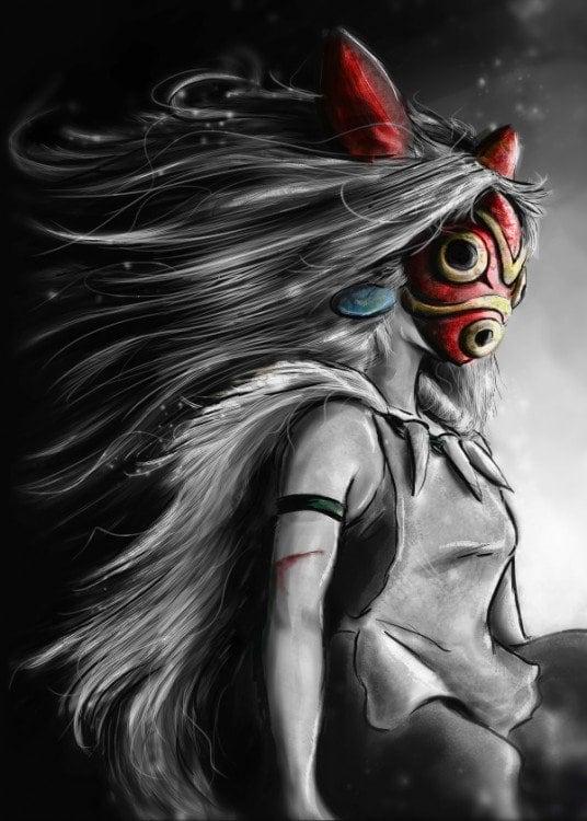 Poster mural métal de la princesse mononoke tiré du célèbre film