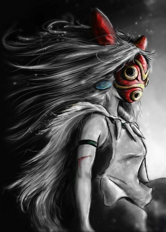 Metal wall poster of the mononoke princess for a design interior