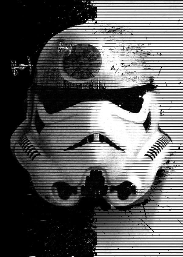 A wall poster of the stormtrooper with contrast from Star Wars