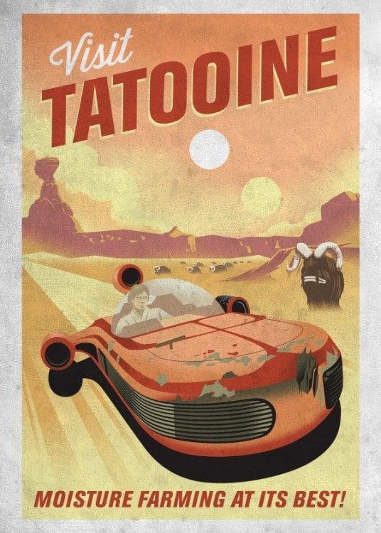 Poster en métal Star Wars de la planète de Tatooine en version vintage
