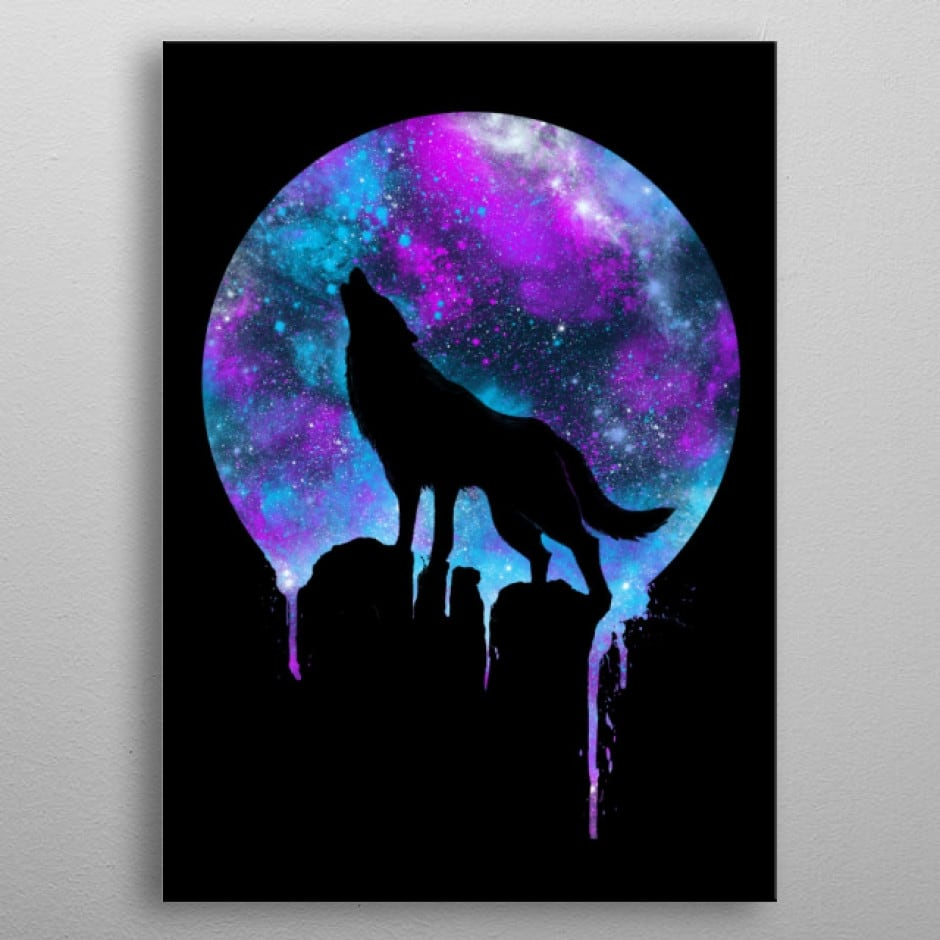 Metal wall poster of a wolf with the moon for interior decoration