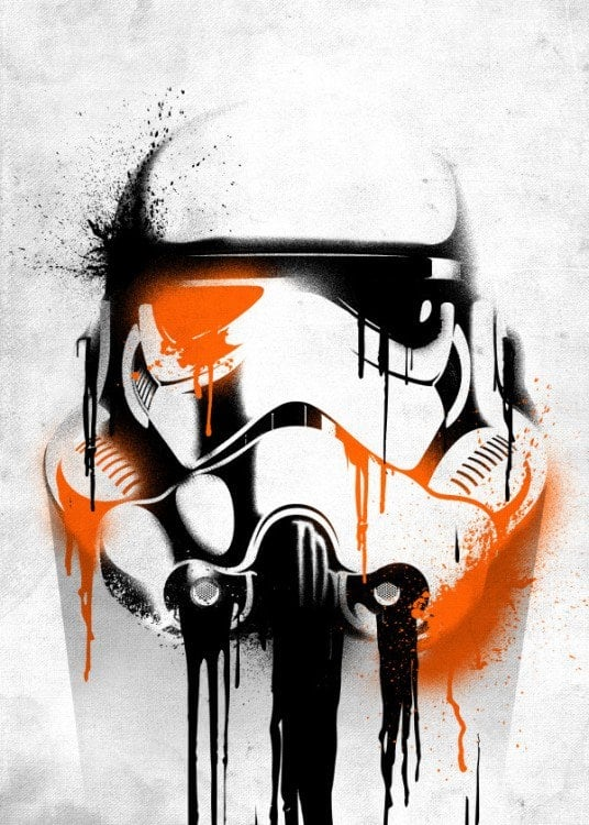Stormtrooper helmet with a graph style on a metal poster