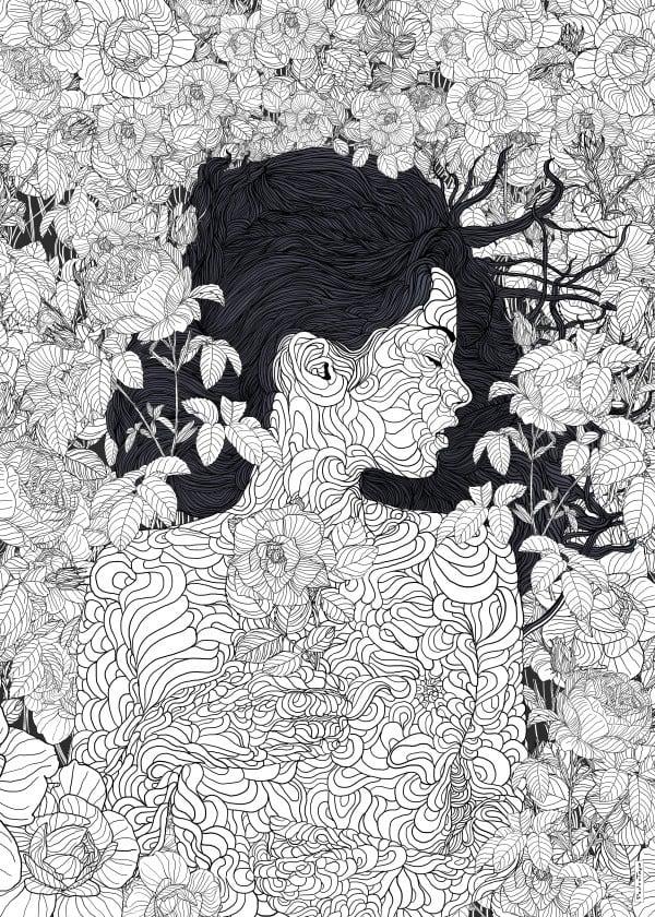 Poster métal mural en noir et blanc dans un style poétique