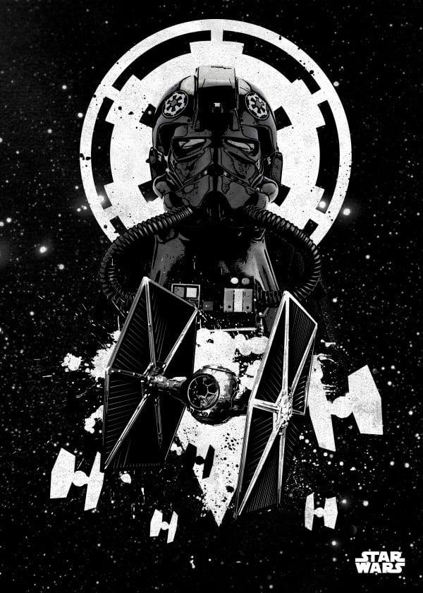 poster murale en métal star wars des pilotes TIE pour l'empire