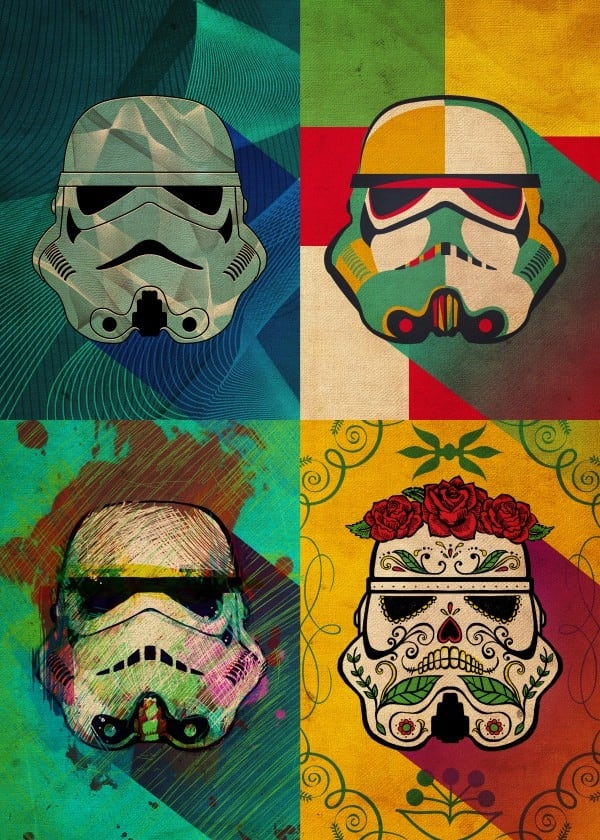 Poster en métal pop art des casques de stormtrooper colorés