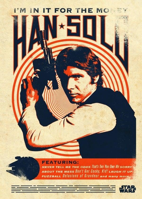 Poster rétro et vintage Star wars de Han Solo