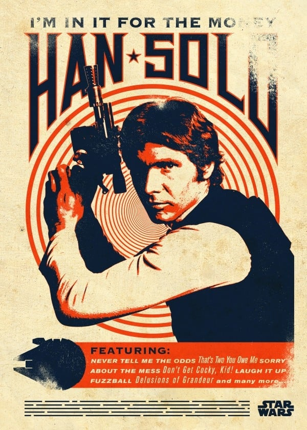 Han Solo vintage poster for star wars decoration