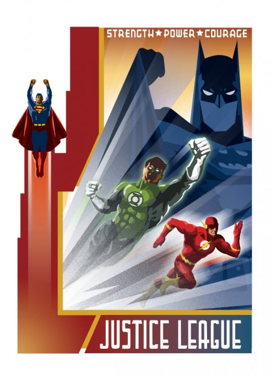 Justice League retro vintage poster for DC Comics fans