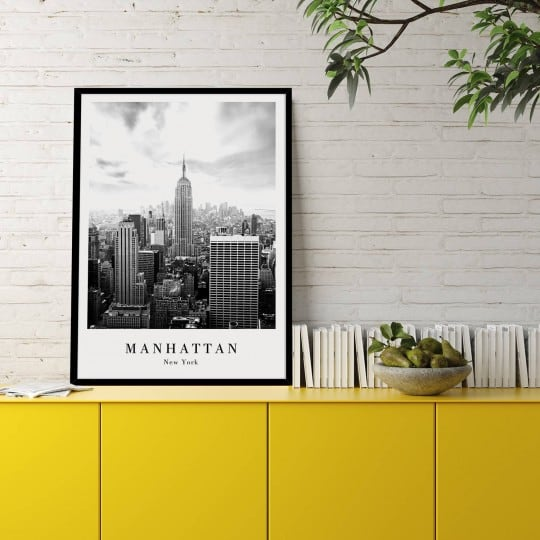 Modern poster with a black frame of Manhattan to decorate your home interior