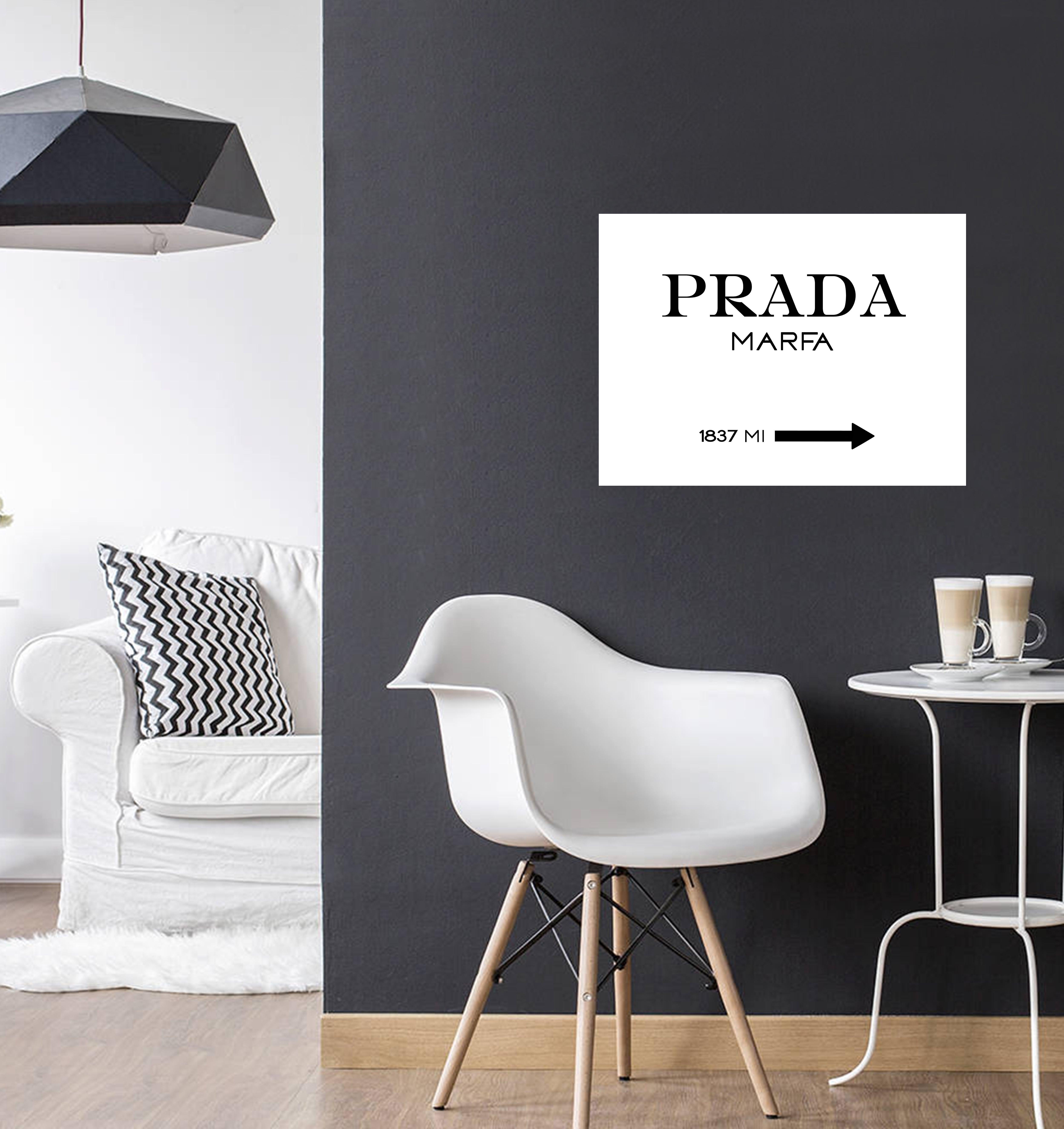 Tableau aluminium design prada marfa pour décoration murale