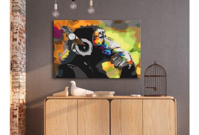 Peinture par numéro singe pop art musique pour un mur design