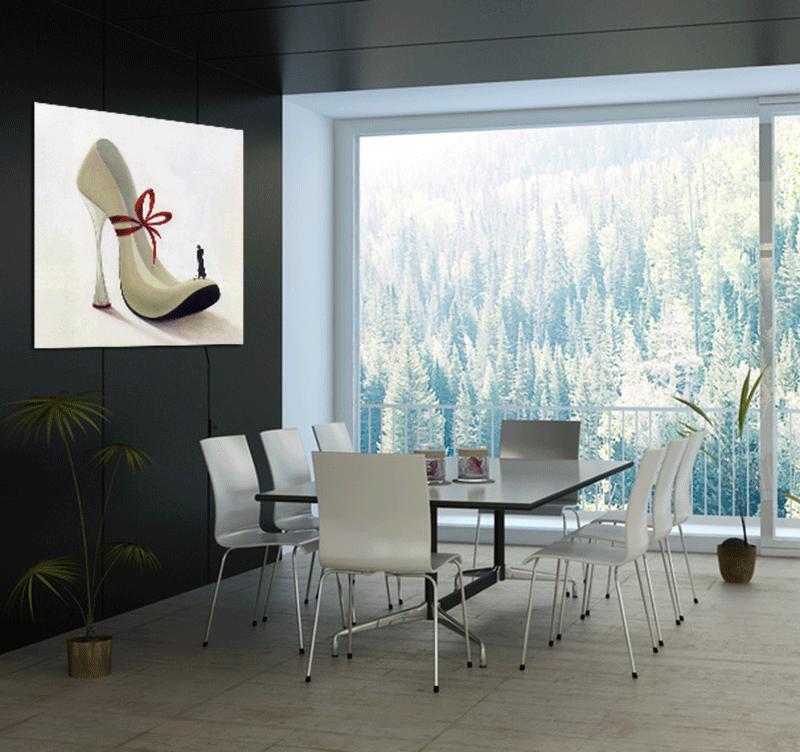 Présentation du tableau Glamour woan shoes dans une maison design
