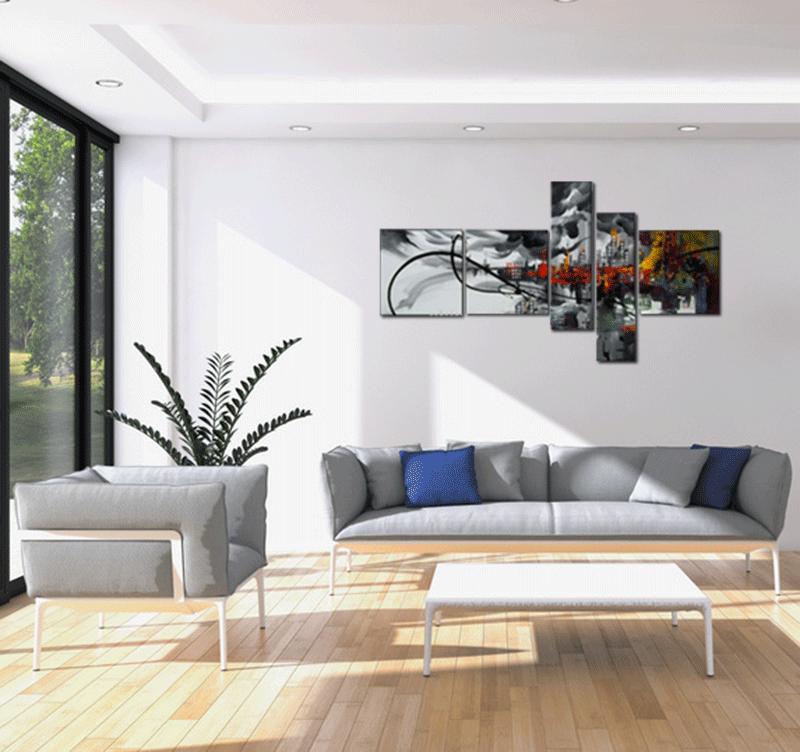 Représentation du tableau Colorful city smoke dans un décor tendance