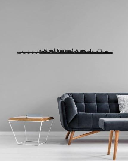 Skyline métallique de Bordeaux dans une déco murale design
