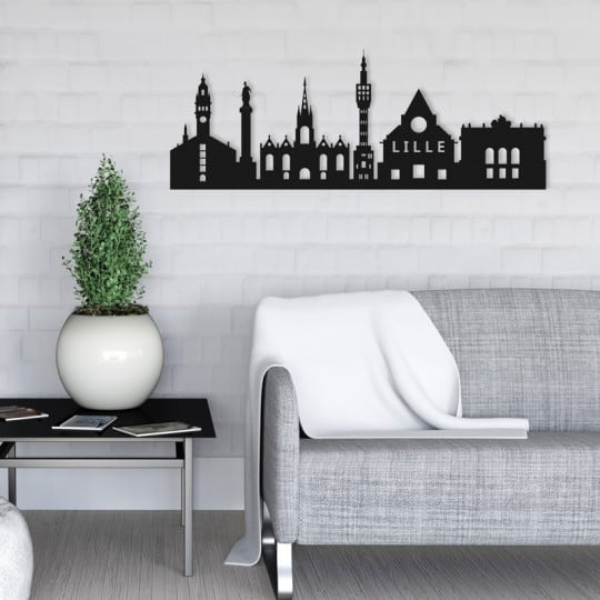 Skyline metal wall decoration of the city of Lille for your interior design