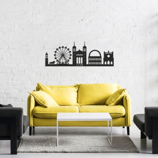 Skyline metal wall decoration of the city of Lyon for a modern interior
