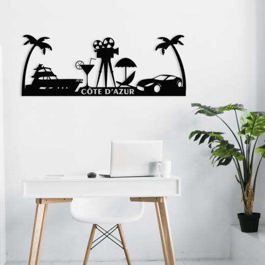 Skyline déco murale de la côte d'azur avec ses palmiers et symboles