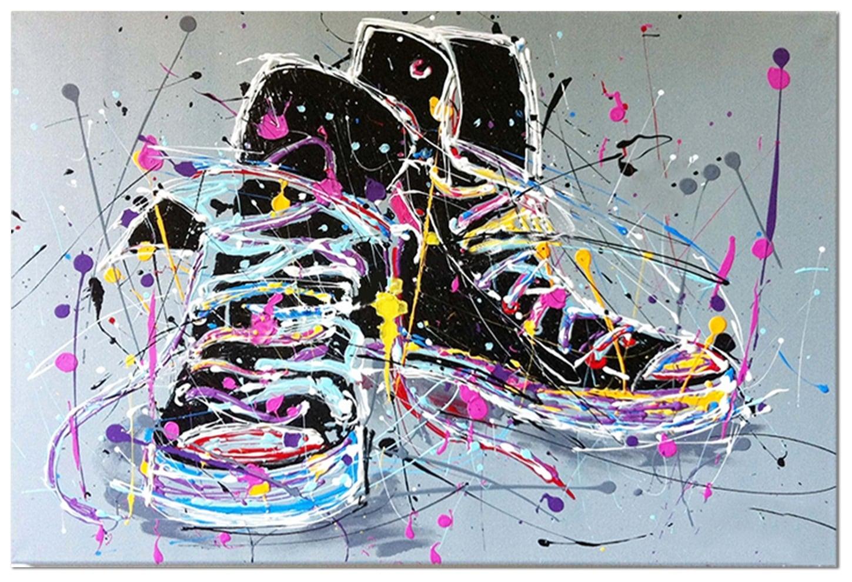 Tableau peinture pop art d'une paire de sneakers colorée
