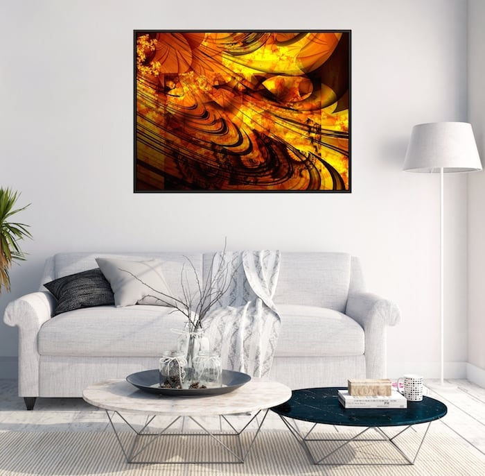 Solar abstract wall canvas for a unique interior