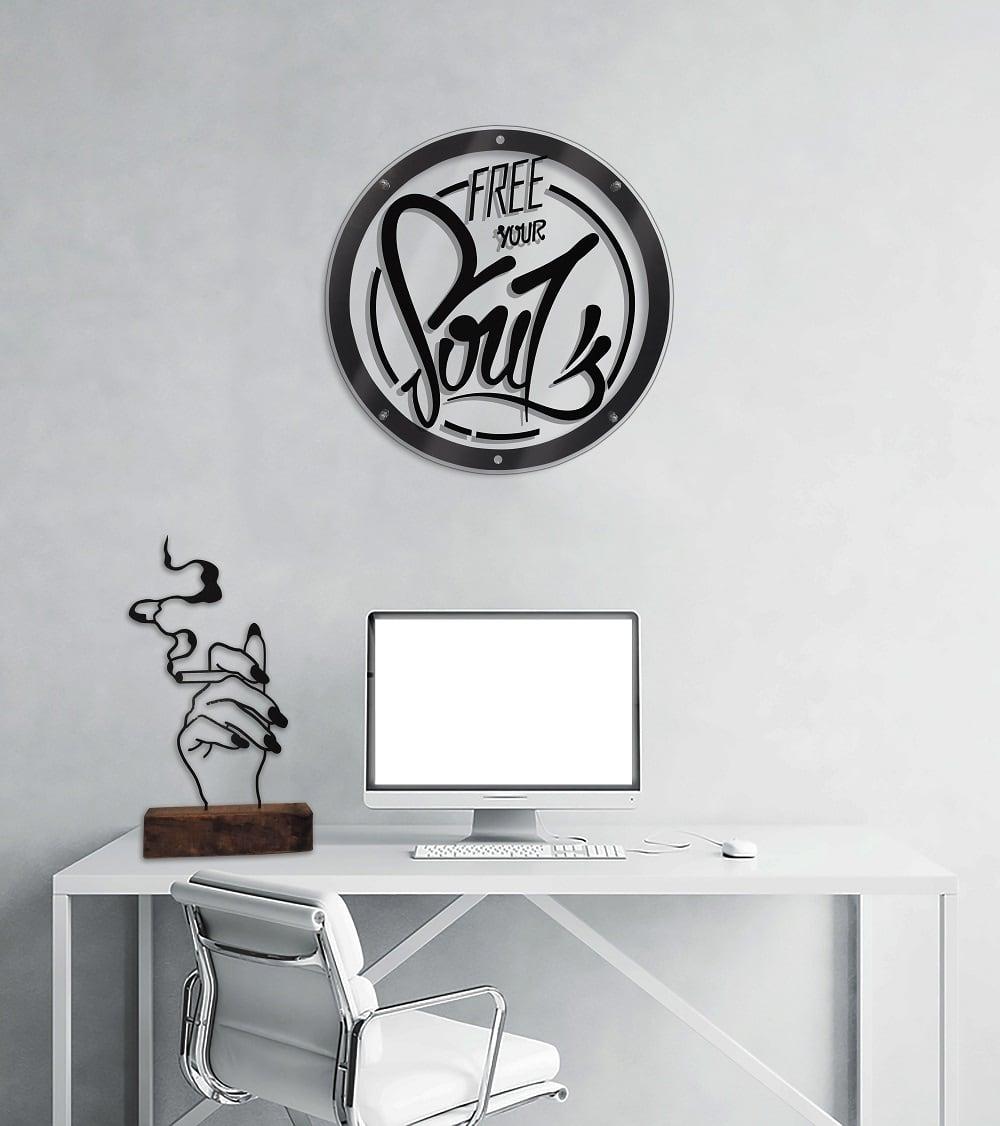 Décoration métal zen dans un bureau moderne et design