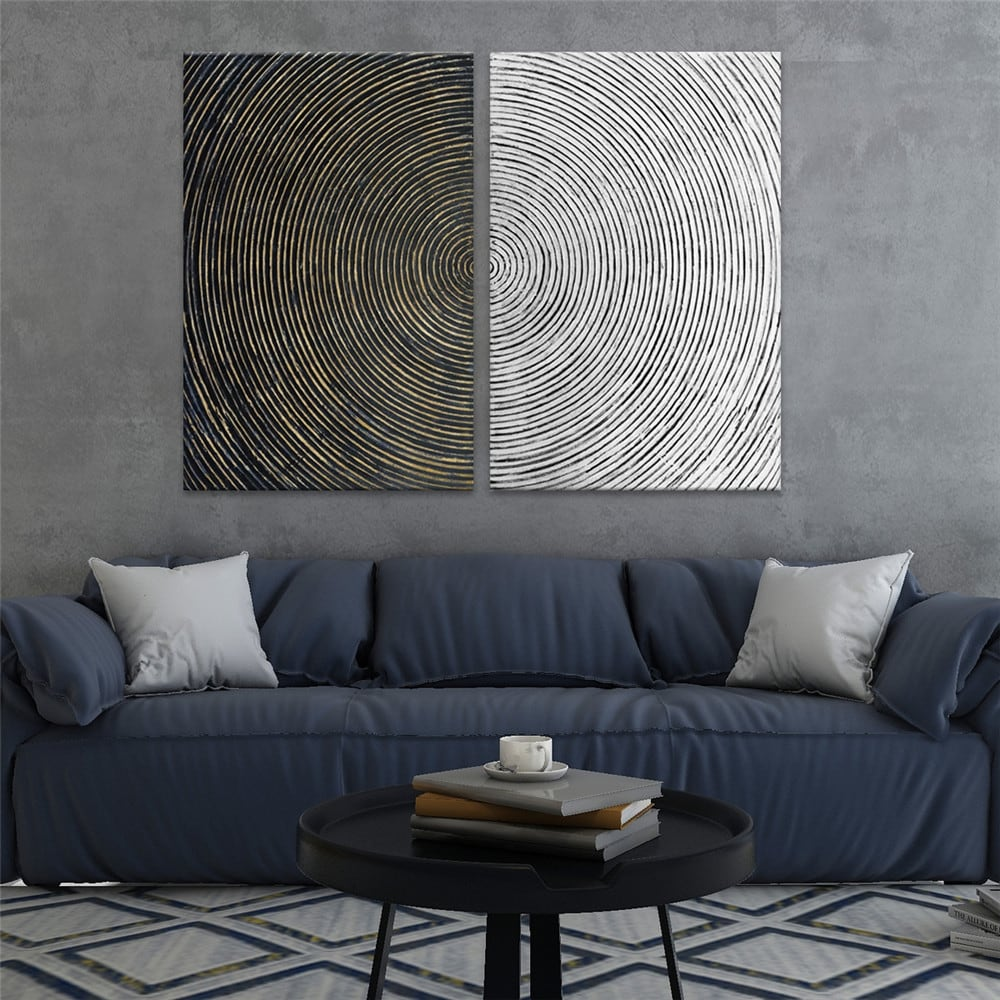 tableau peinture spirale fait main pour une décoration tendance