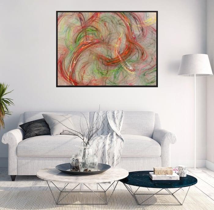 Tableau déco abstrait spirale avec des couleurs explosives