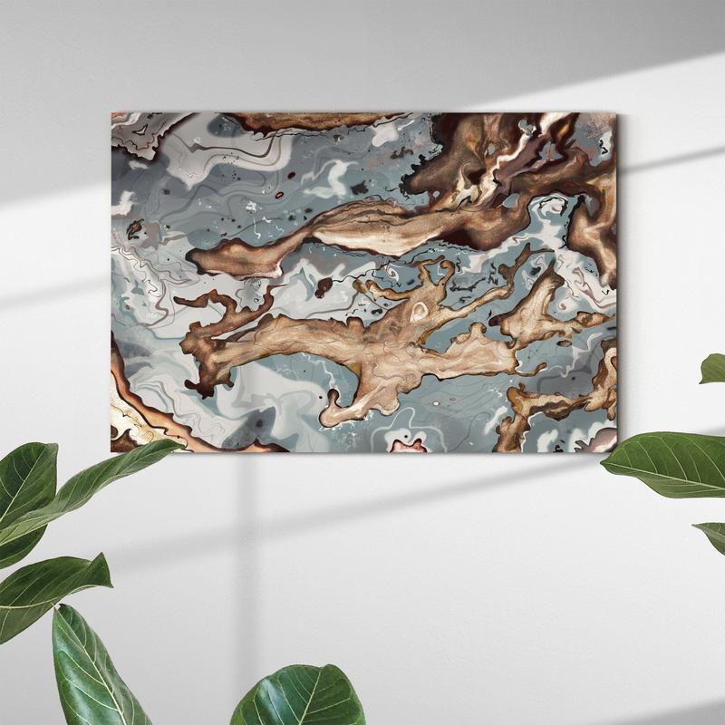 Tableau abstrait bronze avec des couleurs sombres pour une déco murale salon