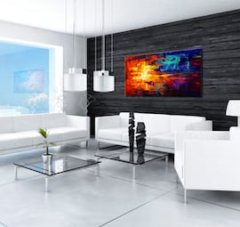 Fire and Ice abstract painting for a design wall decoration