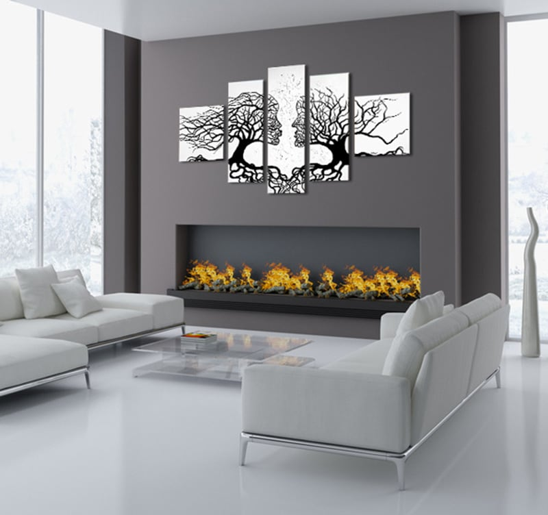 Kissing Trees abstract painting on canvas for a nature wall decoration