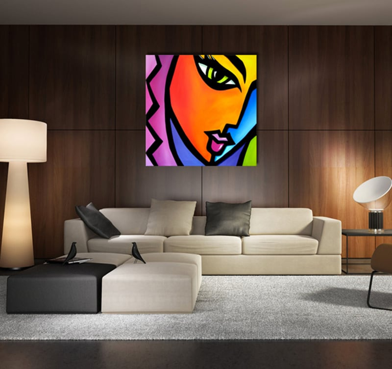 Tableau design pop art woman for Tableau art contemporain design decoration