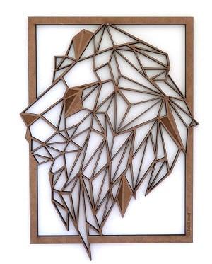 Tableau décoration murale bois d'une tête de lion pour vos murs