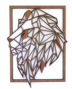 Lion wood frame for a design wall decoration