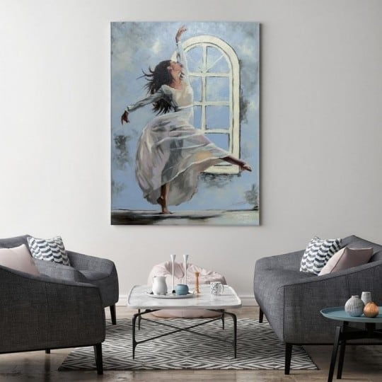 Blue dancing woman canvas print for a contemporary wall decoration