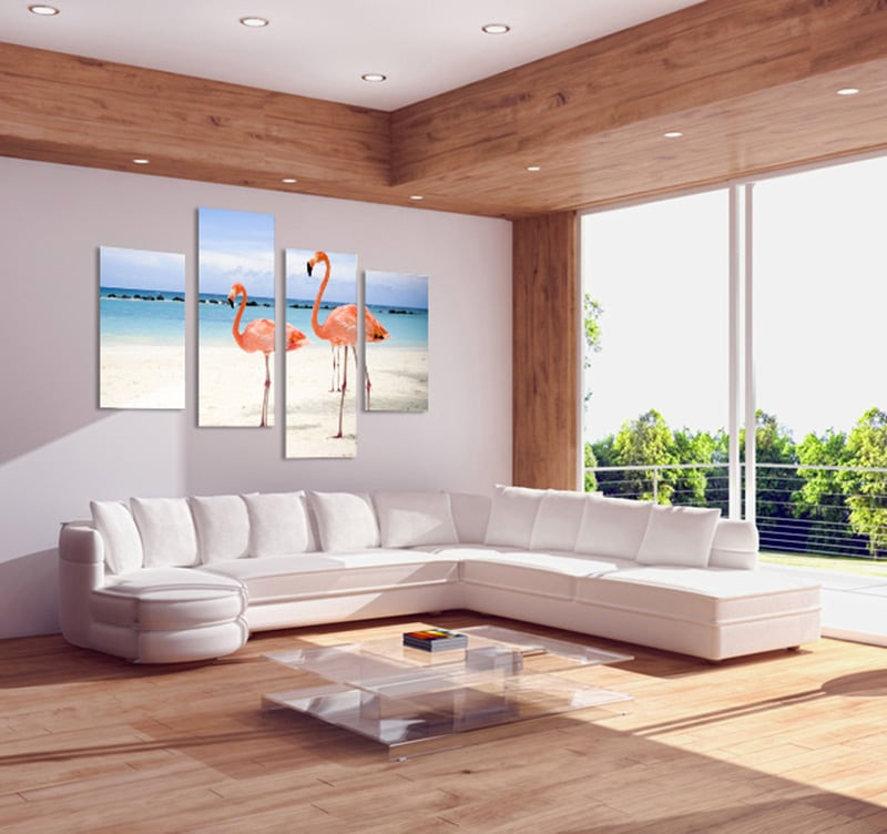 Flamingo on a beautiful beach to inspire your home decoration with a modern decoration printed on canvas
