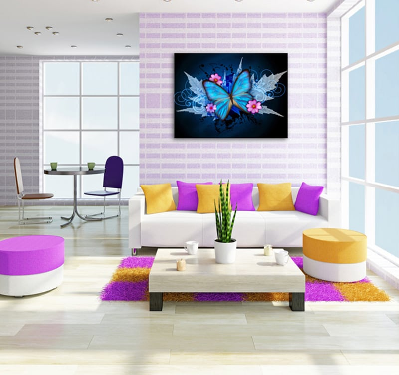 Blue Butterfly modern art print for children wall decoration