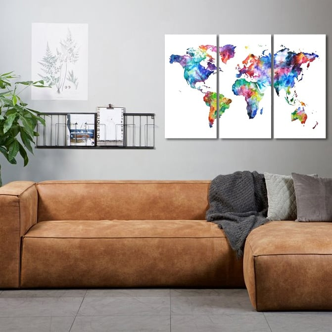 Tableau mural design carte du monde en version colorée