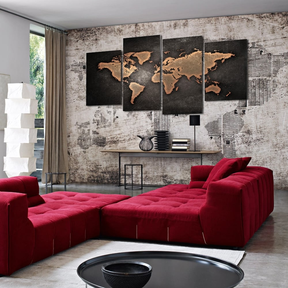 Vintage canvas print of the world map for interior