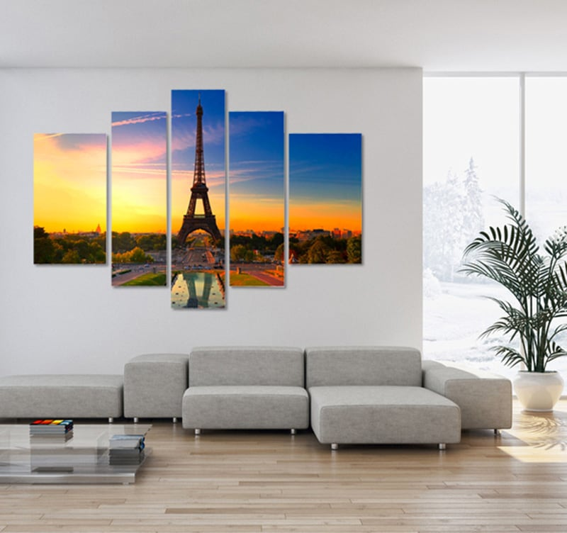 Toile tableau paysage de Paris en plusieurs panneaux pour découvrir les charme de Paris en décoration