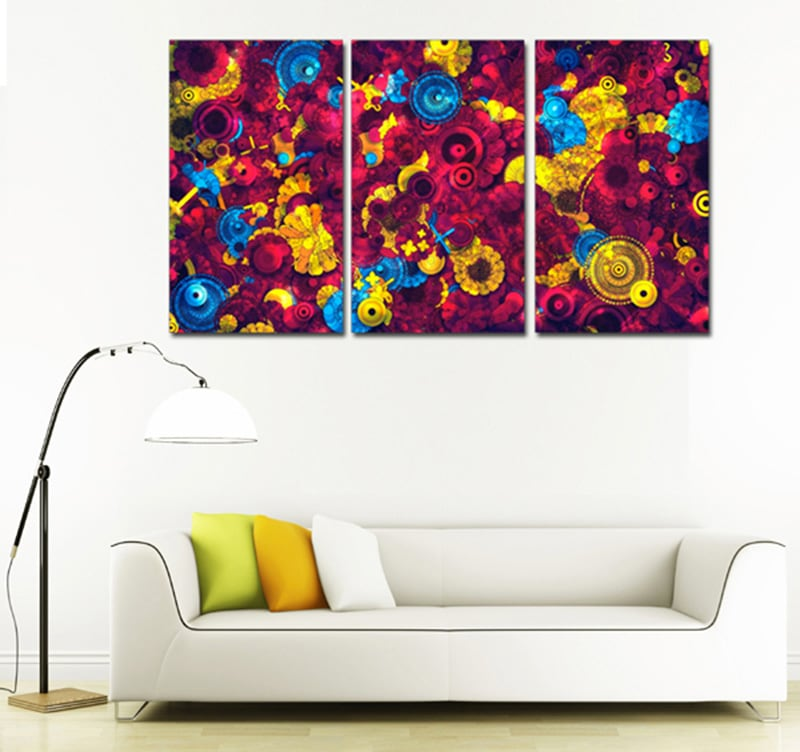 tableau triptyque pop art flowers. Black Bedroom Furniture Sets. Home Design Ideas