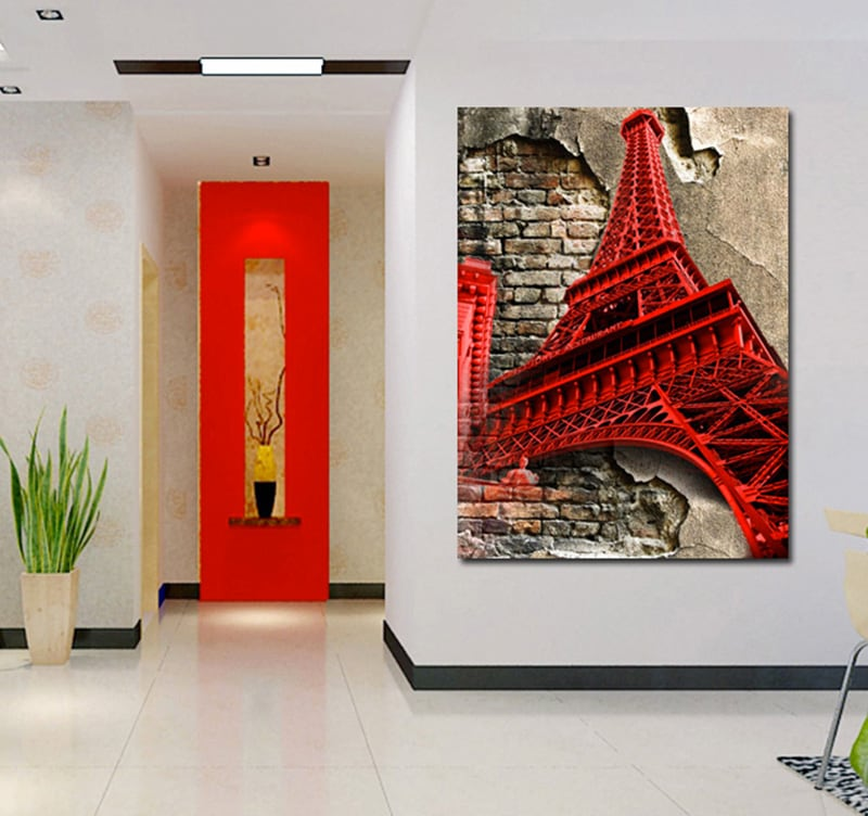 tableau pop art eiffel tower. Black Bedroom Furniture Sets. Home Design Ideas